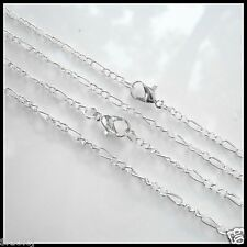 """NEW 5PCS Silver Plated Fine Chain Necklace With Clasp 19""""X-S"""