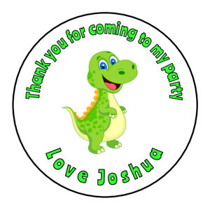 Cute Dinosaur Personalised Thank You Sticker Party Bag Sweet Cone Birthday Label