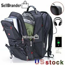 Swiss Multifunctional 17'' Laptop Backpack Travel Camping USB Charge School bag