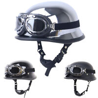 DOT German Motorcycle Helmet Half Open Face w/Pilot Goggles for Chopper Scooter