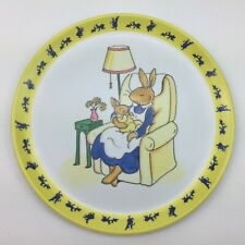 Vtg Royal Doulton Bunnykins 1999 Melamine Plate Yellow Mother Baby Rabbit Bunny