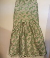50-60's Vintage Mint Green Pieced Embroidered Metallic Ellipses Formal  Skirt