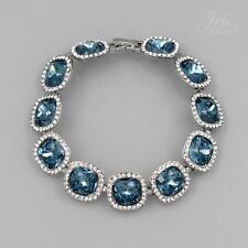 Rhodium Plated Light Blue Crystal Rhinestone Tennis Bracelet 649 Fashion Jewelry