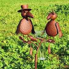 Pluviomètre décoratif de jardin motif corbeaux couleur rouille 127 cm -Neuf