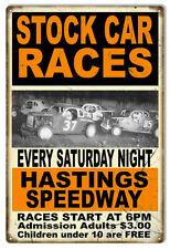 Stock Car Races Sat Night Motor Speedway Reproduction Sign 12x18