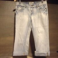 """Maurices Blue Jean Capris Womens Juniors 3/4 Thick Stitch Cuffed INSEAM IS 20"""""""
