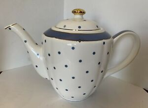 Graces Teaware Teapot White Blue Polka Dot Gold Trim Dining Collectable Decor