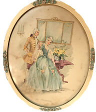 VINTAGE SHABBY ROSES FRAME THE FLIRTATION COURTING COUPLE OVAL PRINT BY CORRE