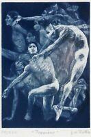 G H Rothe b.1935, mezzotint famous image, pencil signed