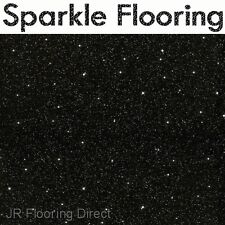 BLACK Granite Effect Sparkle Vinyl Flooring / Floor NEW