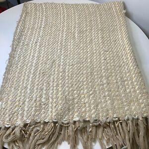 Chunky knit throw blanket gold and cream fringe boho chic modern 50x60