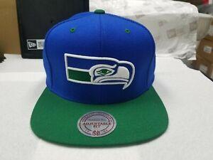 NFL Seattle Seahawks Mitchell & Ness Throwback 2 Tone Blue Snapback Hat Cap