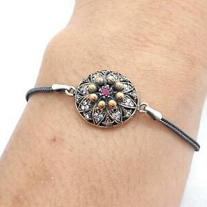 Deco .35ct Ruby & Diamond Cut White Sapphire 14K Yellow Gold 925 Silver Bracelet