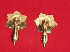 Brass Drop Cupboard Handle. Flower Rose.Cabinet/Drawer Pull.Pack of 2. Free P+P