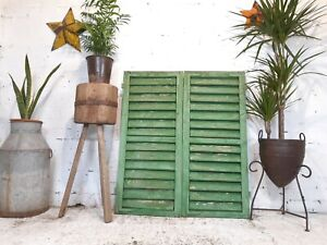 Vintage Antique Pair Green French European Opening Wooden Window Shutters