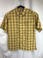 The North Face Mens Plaid Short Sleeve Button Up Shirt Hiking Zip pocket Medium