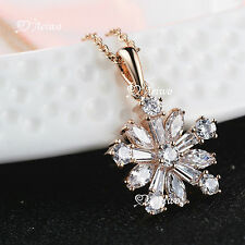 18K ROSE GOLD GF CLEAR CRYSTAL PENDANT NECKLACE FLOWER
