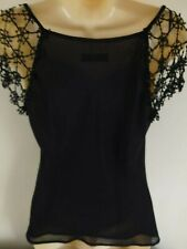 Principles Black Sexy Chiffon evening top with lace/bead detail- Black - Size 12