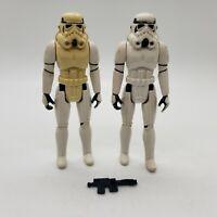 Vintage Star Wars Stormtrooper Figure Lot if 2 with Original Blaster Not Repro