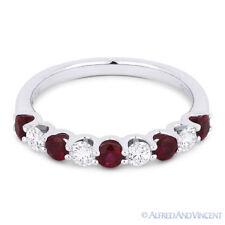 18k White Gold Anniversary Ring Wedding Band 0.88ct Round Cut Red Ruby & Diamond