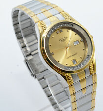 Citizen Quartz Man Day Date Two Tone Stainless Steel Gold Dial Analog Watch 127M