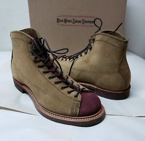 First 8D Red Wing Heritage Boots Lineman 2997 Olive Maroon Mohave Iron Ranger 8D