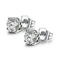 HUCHE 18K Silver White Gold Filled Studs Diamond Topaz Lady Daily Party Earrings