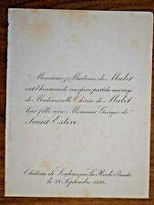 THERESE DE MALET Georges de Saint Esteve FAIRE PART MARIAGE Chateau Loubens 1892