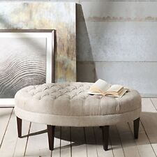 Button Tufted Ottoman Sitting Room Furniture Solid Wood Upholstered Fabric Beige