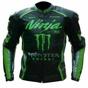 Motorbike Leather Jacket  Pure Cow Hide Leather kawasaki Ninja Monster