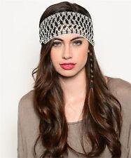 Wide Head Band Black & White Zig Zag Fashion Hair Accessory Stretch Fit Elastic