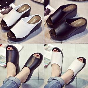 Womens Beach PU Sandal Platform Mules Flip Flop Slipper Ladies Summer Shoes Size
