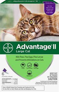 Advantage II Flea Spot Treatment for Cats, over 9 lbs ( 6 Doses ) New
