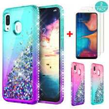 For Samsung Galaxy A20S Shockproof Armor Bling Clear Case Cover+Screen Protector