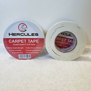 "Lot of 2 Hercules Carpet Tape Double-Sided 2""x 35 Yards Read"