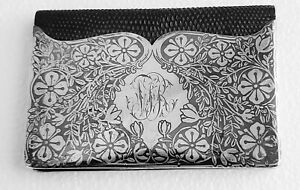 Really Rare Niello Sterling Work By Tiffany & Co. NY Shagreen Wallet / Card Case