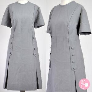 GREY BUTTON DETAIL, DEEP PLEAT 1960s VINTAGE MOD DRESS 18