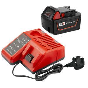 Replace Milwaukee Battery 5.0Ah 18V Li-Ion M1850 M18B5 M18B4 M18B2 M18BX Charger