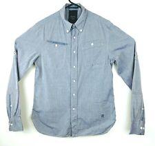 G Star Raw Mens Small Button Down Shirt Long Sleeve Blue Denim Look Gstar Front