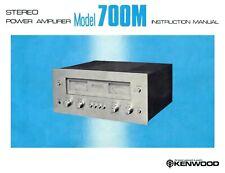 Kenwood Model 700M vintage power amplifier PAPER COPY of rare owner's manual
