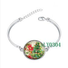 Christmas Tree  glass cabochon Tibet silver bangle bracelets wholesale