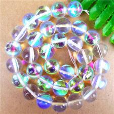 1Strand White Mystic Aura Quartz Gemstone Titanium Aqua Loose Beads 12mm AE4464