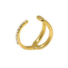 Sterling-Silver 14K Vermeil Plated Marilyn Ring w/ White CZs size 7