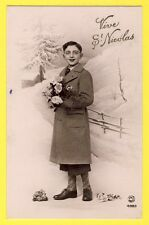 cpa vers 1920 France GARÇON en MANTEAU Bouquet de Fleurs FÊTE VIVE St NICOLAS