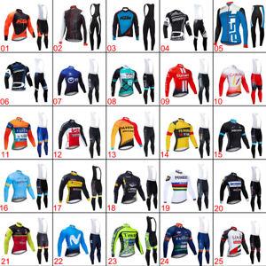 2021 Mens Team Cycling Jerseys Kit Cycling long Sleeve Jersey And Bib Pants Set