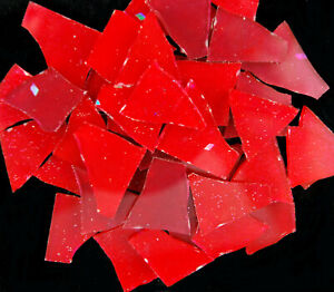 sale! 50 pieces of MIXED RED Colored glass pieces