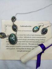Labradorite Necklace Earring Set 925 Silver  Rainbow Irridescence healing stone