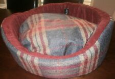 Tweed Effect Blue check small dog bed with washable/removable foam cushion