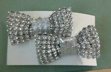Girls kids toddler set of 2 silver rhinestone bling hair bow alligator clips