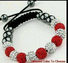 CRYSTAL BRACELET SHAMBALLA RED AND WHITE WEDDING PROM BIRTHDAY mum Christmas